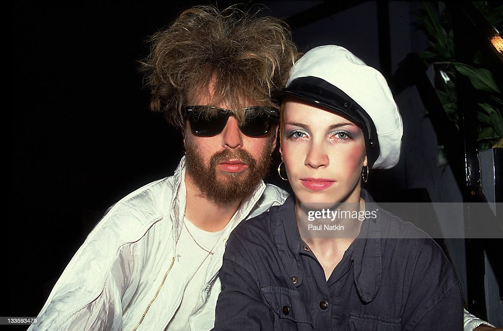 Backstage portrait of British musicians David A. Stewart (left) and Annie Lennox of the Eurthymics at the Park West, Chicago, Illinois, July 29, 1986.