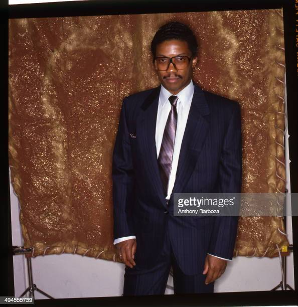 Backstage preshow portrait of Herbie Hancock before the 'One Night With Blue Note' concert at Town Hall New York New York February 22 1985