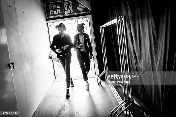 Backstage prior to the Birmingham City University show on day 1 of Graduate Fashion Week at The Old Truman Brewery on May 30 2015 in London England