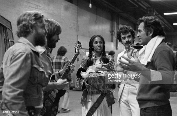 Backstage prior to the Grateful Dead take the stage at the Cow Palace on December 31 1976 in San Francisco California