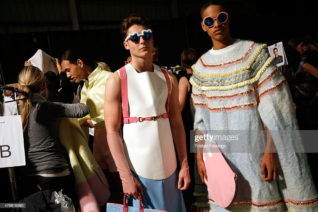 Backstage prior to the Samsonite International Catwalk Competition on day 4 of Graduate Fashion Week at The Old Truman Brewery on June 2 2015 in...