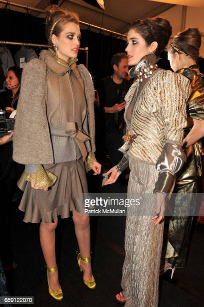 Backstage Toni Garrn and Amanda Laine attend ZAC POSEN Fall 2009 Collection at The Tent on February 19 2009 in New York