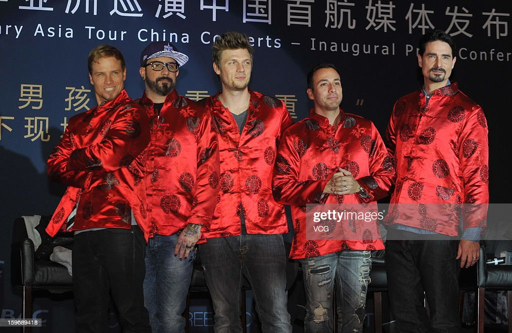 Backstreet Boys attend press conference during their Asia tour on January 18, 2013 in Beijing, China.