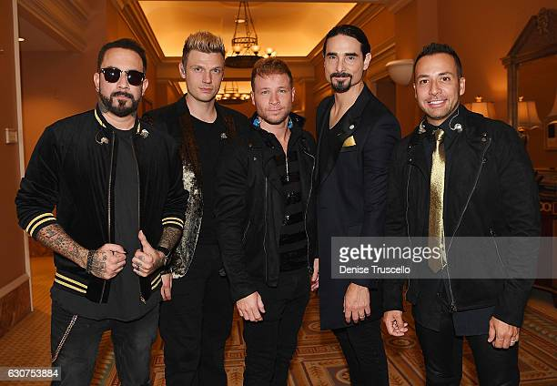 Backstreet Boys back stage at a private show at Caesars Palace in Las Vegas on New Year's Eve at Caesars Palace on December 31 2016 in Las Vegas...