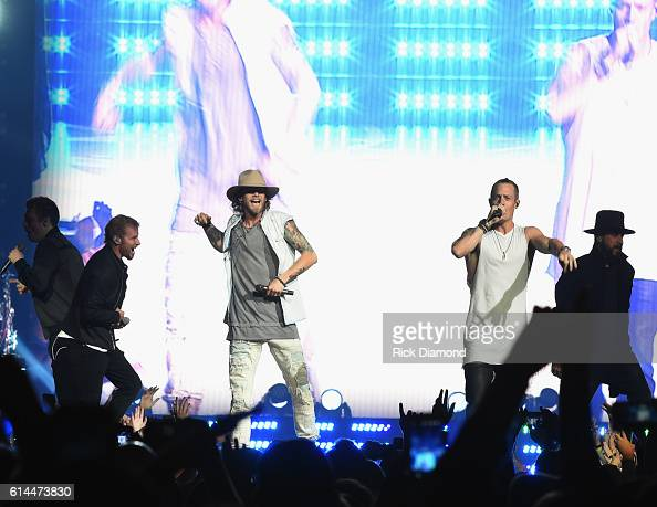 Backstreet Boys Howie D Brian Littell and AJ McLean join Brian Kelley and Tyler Hubbard of Florida Georgia Line during FGL's Dig Your Roots 2016 Tour...