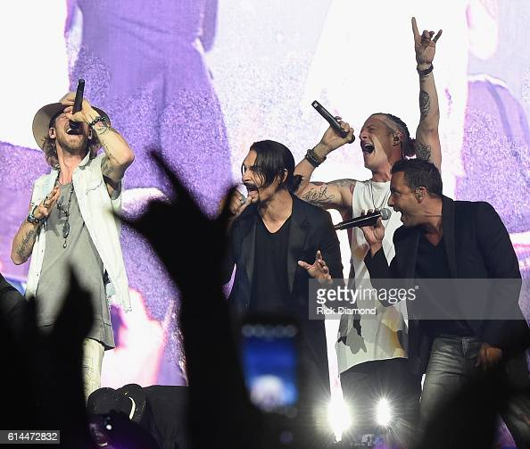 Backstreet Boys Kevin Richardson and Howie D join Brian Kelley and Tyler Hubbard of Florida Georgia Line during their Dig Your Roots 2016 Tour at...