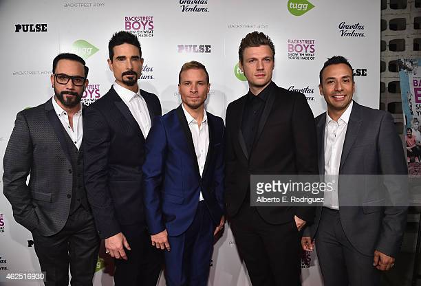 Backstreet Boys members AJ McLean Kevin Richardson Brian Littrell Nick Carter and Howie Dorough attend the premiere of Gravitas Ventures' 'Backstreet...