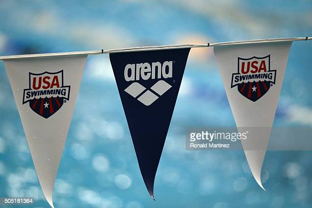 Backstroke flags are seen during the Arena Pro Swim Series at Austin on January 15 2016 in Austin Texas