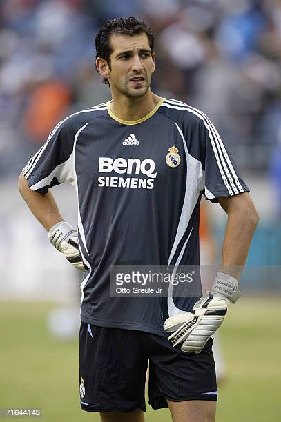 Backup Goalkeeper Diego Lopez of Real Madrid looks on prior to their friendly match against DC United on August 9 2006 at Qwest Field in Seattle...