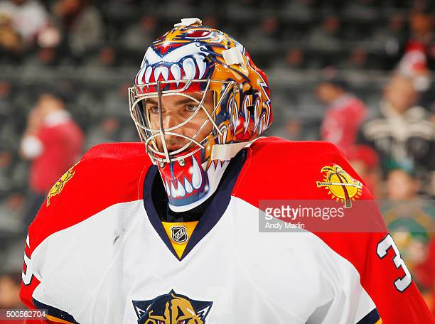Backup goaltender Al Montoya of the Florida Panthers looks on during pregame warmups prior to the game against the New Jersey Devils at the...