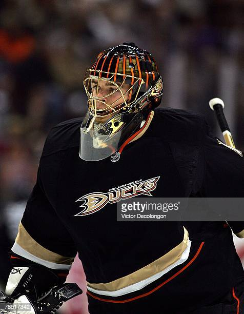 Backup goaltender Jonas Hiller of the Anaheim Ducks enters the game in relief of starting goaltender JeanSebastien Giguere in the second period...