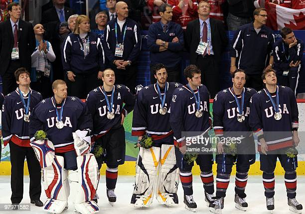Backup goaltender Jonathan Quick goaltender Tim Thomas Dustin Brown goaltender Ryan Miller David Backes Brooks Orpik and Bobby Ryan of USA look on...