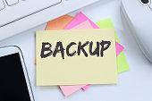 Backup save data on computer technology desk computer keyboard