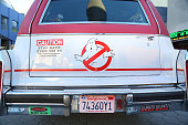 Backview closeup of the 'Ghostbusters' Cadillac Fleetwood Station Wagon at AMC Universal City Walk on July 14 2016 in Universal City California