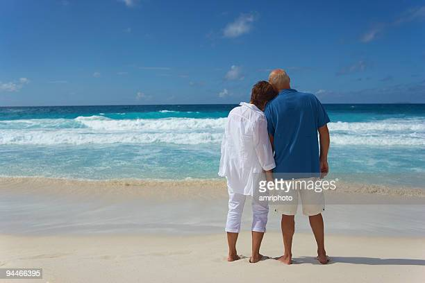 backview of senior couple looking over the sea