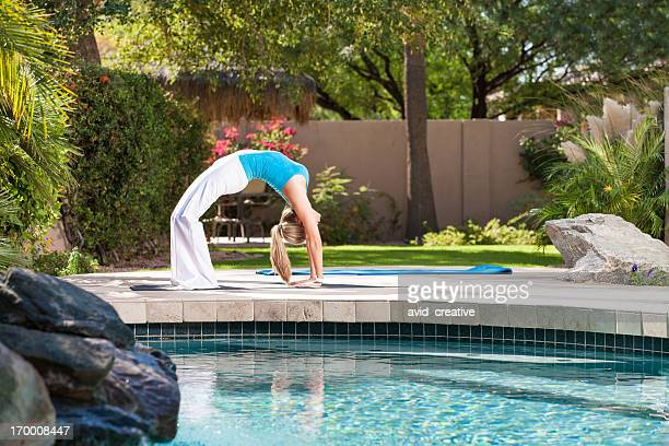 Backward Arch Yoga Poolside