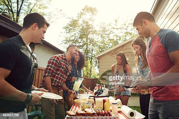 Backyard barbecue with buddies