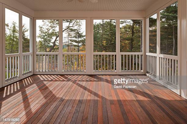 Backyard deck with screen enclosure