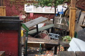 Backyard furniture sits in disarray at the Ice House bar in the Red Hook neighborhood of the Brooklyn borough of New York US on Tuesday Oct 30 2012...