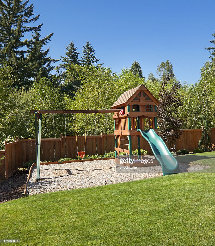 backyard play structure stock photo getty images