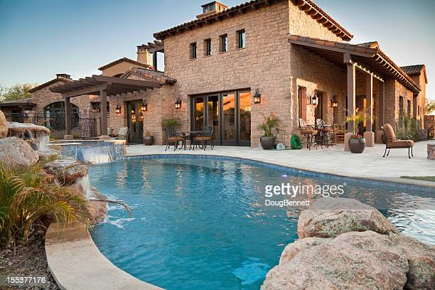 Backyard view of luxury home with swimming pool