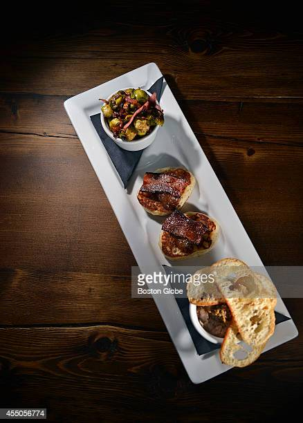 'Bacon 3Way' which consists of roasted brussels sprouts with bacon sourdough flapjack with bacon and apple butter pork rillettes at Park restaurant...