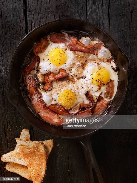 Bacon and Eggs Frying