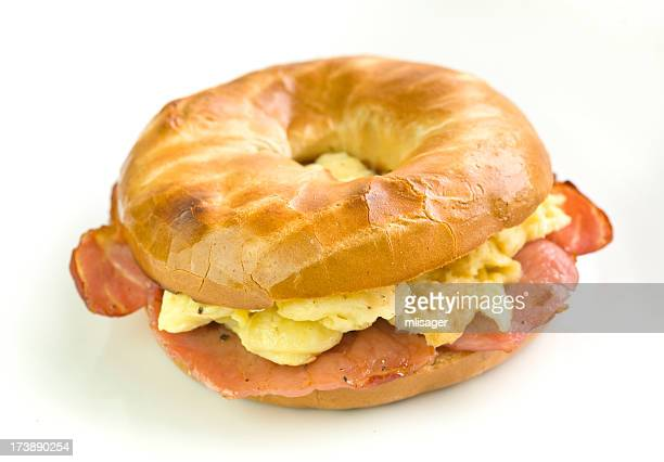 Bacon and Scrambled egg filled bagel