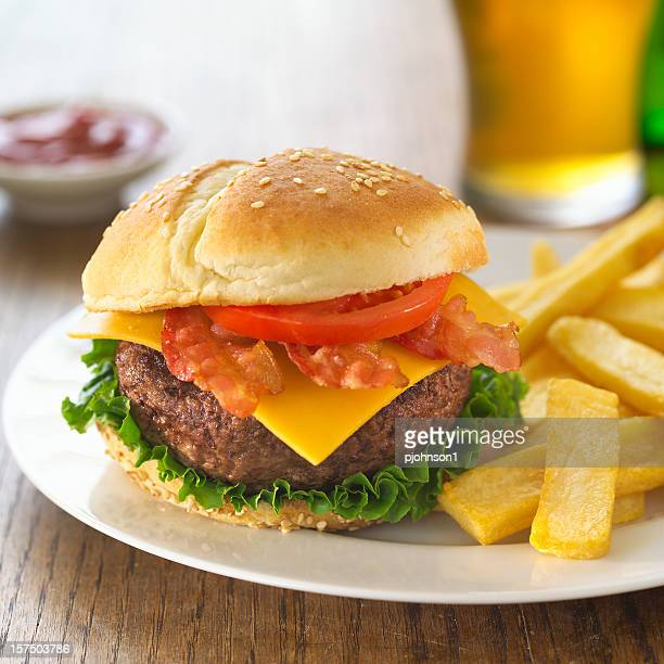 Bacon Cheese Burger with Beer