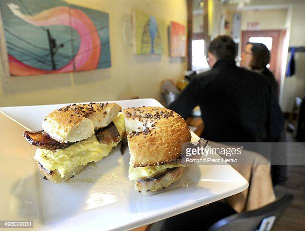 Bacon egg and cheese bagel sandwich served at 158 Picket Street Cafe in South Portland Monday January 72013