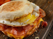Bacon, Egg and Cheese Breakfast Sandwich on an English Muffin