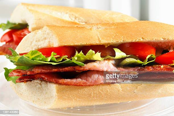 Bacon, lettuce and tomato sandwich close up