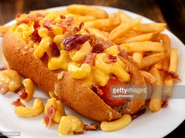 Bacon Mac and Cheese Dog with Fries