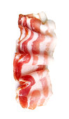 Bacon meat isolated on white background .