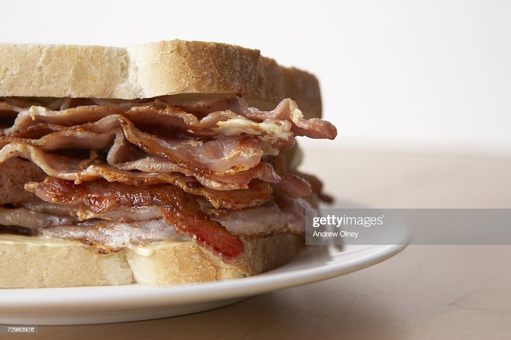 Bacon sandwich, close-up : Stock Photo