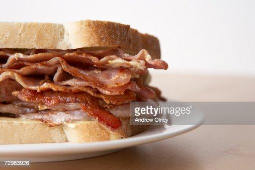 Bacon sandwich, close-up : Stock Photo