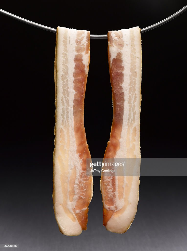 Bacon Strips Hanging : Stock Photo