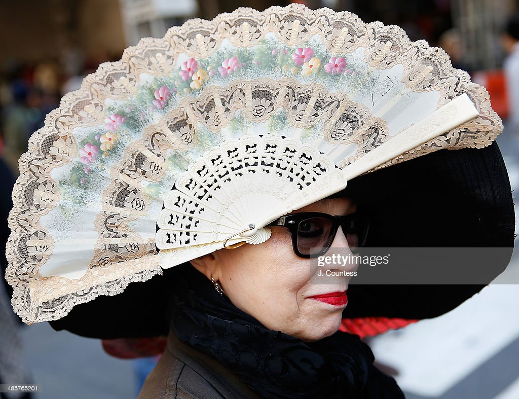 X Baczewska is seen on 5th Ave during the annual Easter Parade and Bonnet Festival on Easter Sunday on April 20, 2014 in New York City.