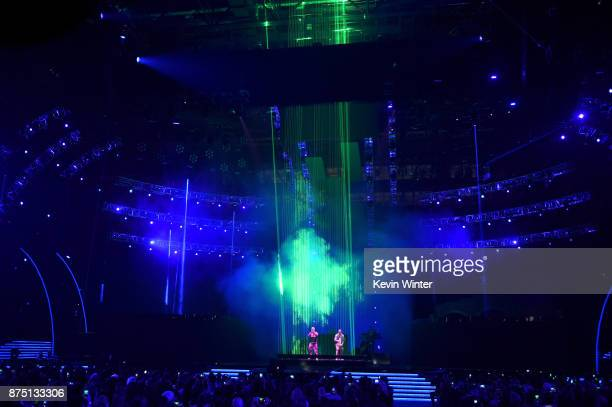 Bad Bunny and J Balvin perform onstage at the 18th Annual Latin Grammy Awards at MGM Grand Garden Arena on November 16 2017 in Las Vegas Nevada