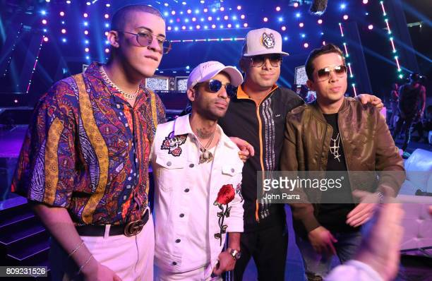 Bad Bunny Arcangel Wisin and De la Ghetto backstage during Univision's 'Premios Juventud' 2017 Celebrates The Hottest Musical Artists And Young...