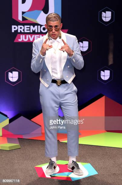 Bad Bunny attends the Univision's 'Premios Juventud' 2017 Celebrates The Hottest Musical Artists And Young Latinos ChangeMakers at Watsco Center on...