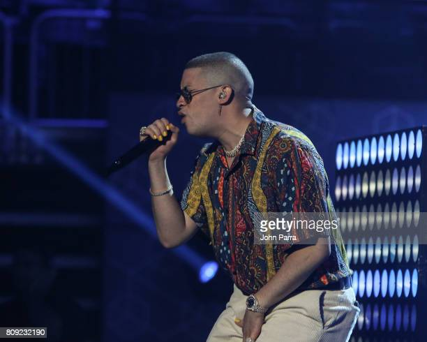 Bad Bunny is seen during Univision's 'Premios Juventud' 2017 Celebrates The Hottest Musical Artists And Young Latinos ChangeMakers Day 2 Rehearsals...