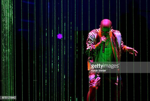 Bad Bunny performs onstage at the 18th Annual Latin Grammy Awards at MGM Grand Garden Arena on November 16 2017 in Las Vegas Nevada
