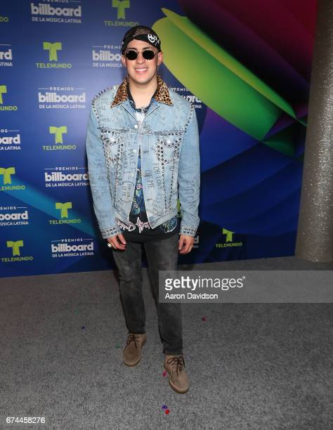 Bad Bunny poses backstage during the Billboard Latin Music Awards at Watsco Center on April 27 2017 in Coral Gables Florida