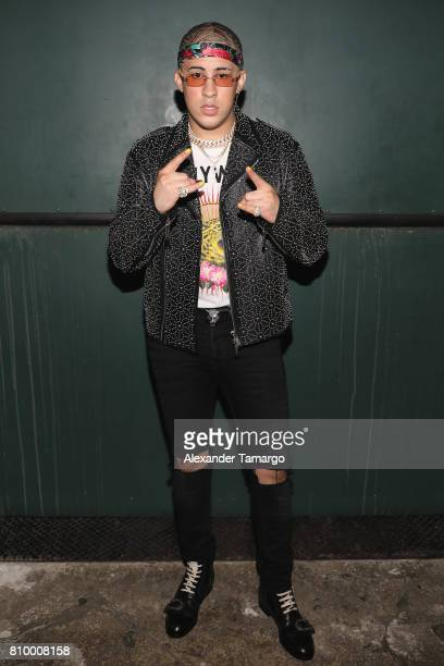 Bad Bunny poses backstage during Univision's 'Premios Juventud' 2017 Celebrates The Hottest Musical Artists And Young Latinos ChangeMakers at Watsco...