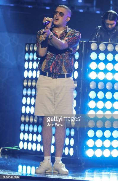 Bad Bunny rehearses on stage during Univision's 'Premios Juventud' 2017 Celebrates The Hottest Musical Artists And Young Latinos ChangeMakers Day 2...