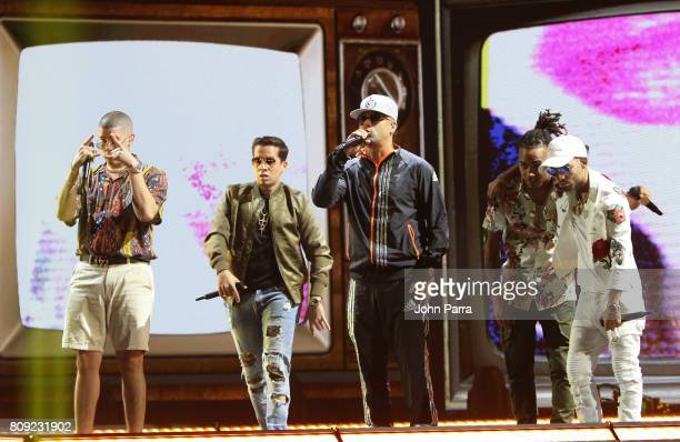 Bad Bunny Wisin De la Ghetto Ozuna and Arcangel rehearses on stage during Univision's 'Premios Juventud' 2017 Celebrates The Hottest Musical Artists...
