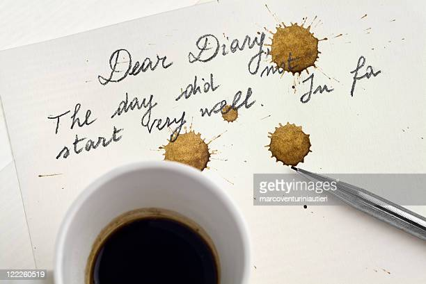 Bad day: The coffee stains the diary page - POV