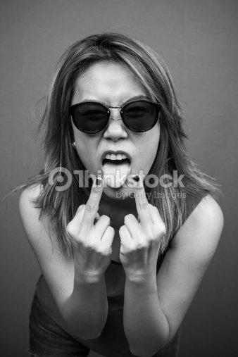 hot girl fuck you middle finger