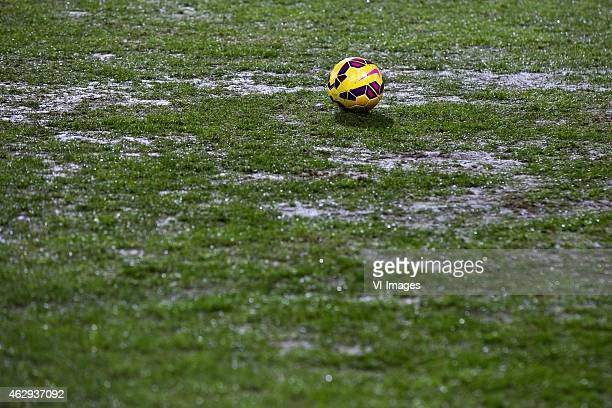 Bad playing field bad grass during the Dutch Eredivisie match between FC Twente and Excelsior Rotterdam at the Grolsch Veste on February 7 2015 in...